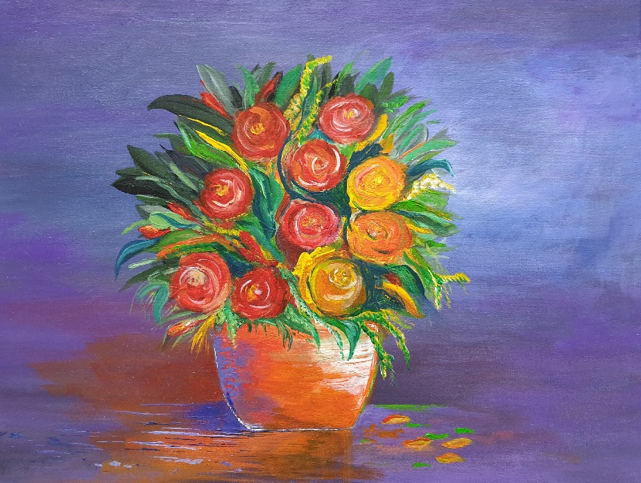 Painting 44-Roses in a Pot-Angela Panzarino