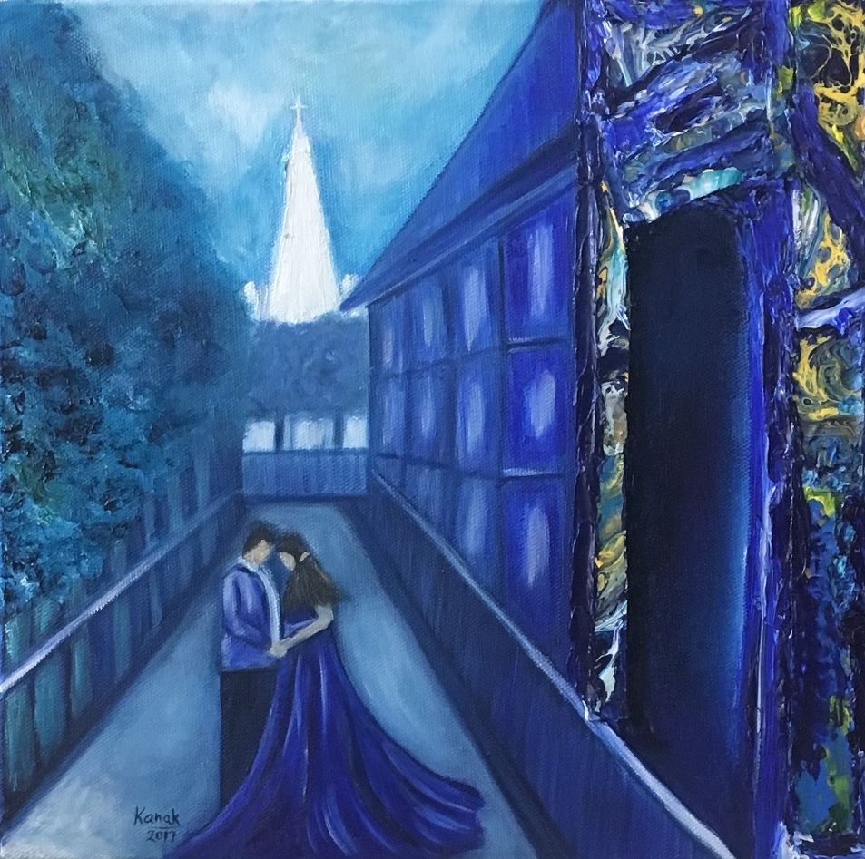 Painting 53-The Walk Behind the Cathedral-Kanak Kiran