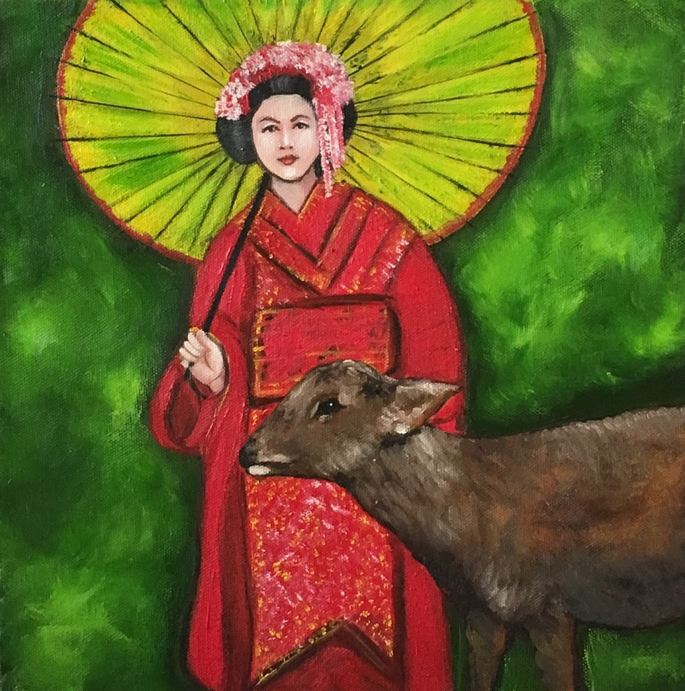 Painting 57-The Geisha I met at Nara, Japan-Kanak Kiran
