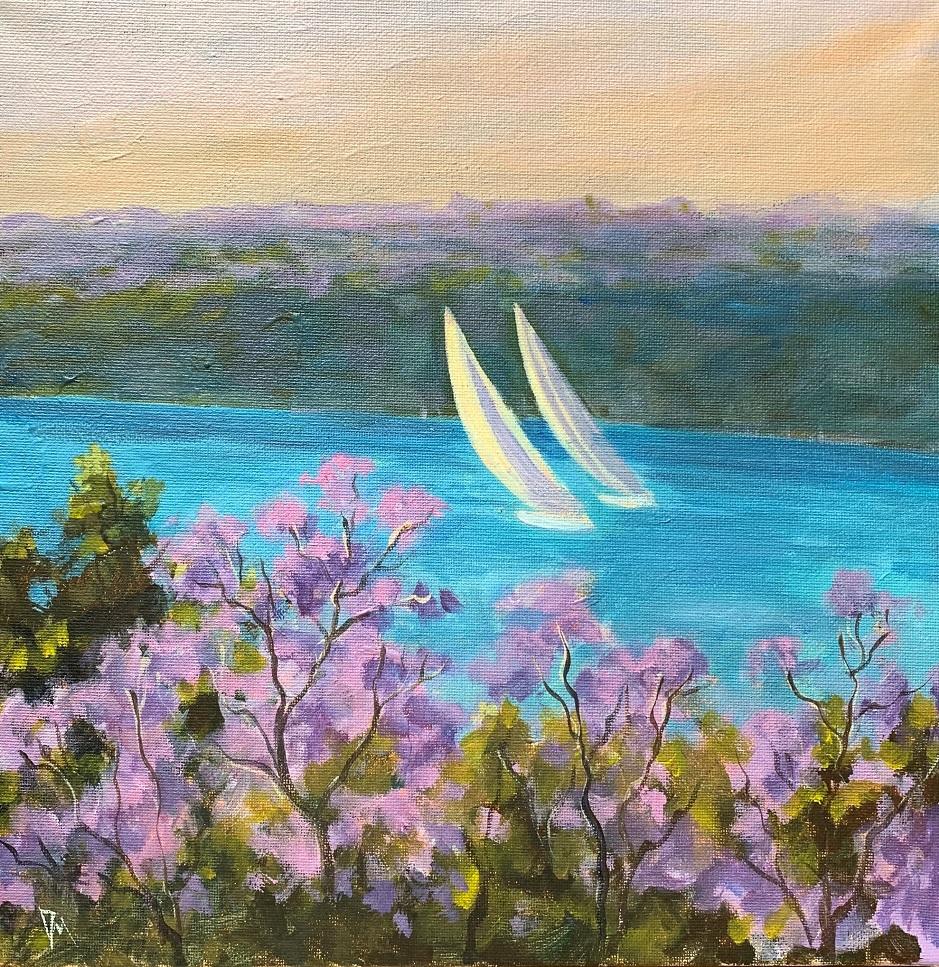 Painting 79-Sailing in jacaranda-Shelly Du Hui