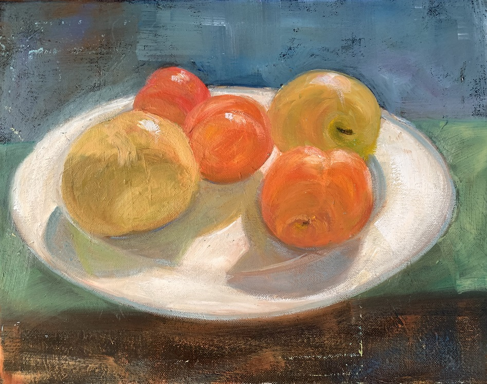 Painting 121-Fruit Plate on the Windowsill-Shelly Du Hui