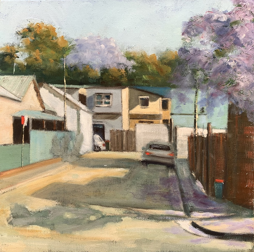 Painting 123-Small Lane with Jacaranda-Shelly Du Hui